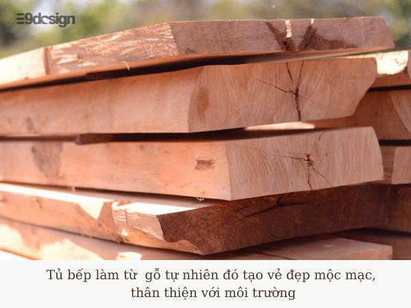 chất liệu gỗ tự nhiên dành cho thiết kế tủ bếp nhà cấp 4