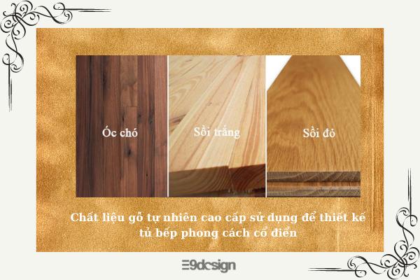 chất liệu gỗ tự nhiên thiết kế tủ bếp cổ điển
