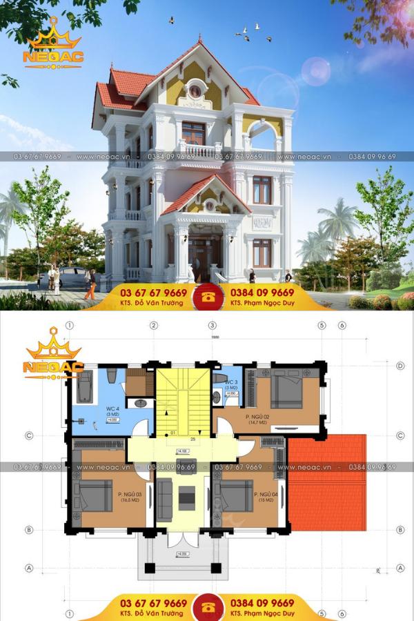 Mẫu thiết kế biệt thự 4 tầng tân cổ điển 120m2