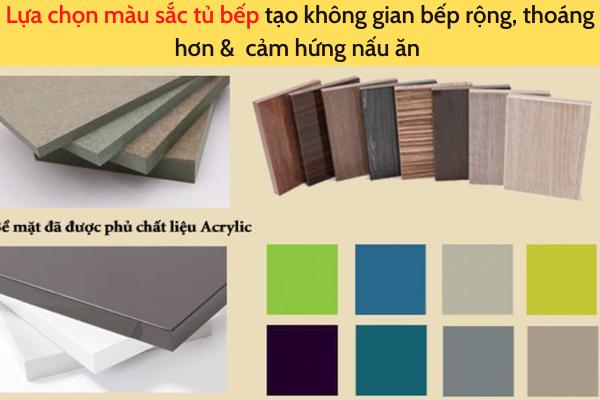 lựa chọn màu sắc thiết kế tủ bếp nhà phố