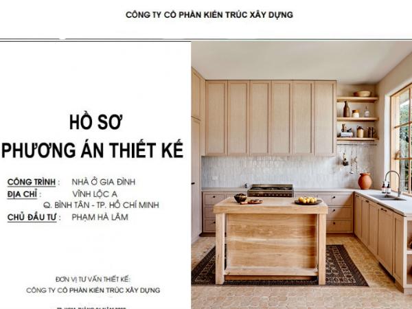 trang bìa hồ sơ thiết kế tủ bếp nhà phố