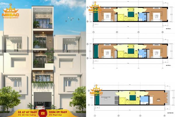 Mẫu thiết kế nhà phố 5 tầng 65m2