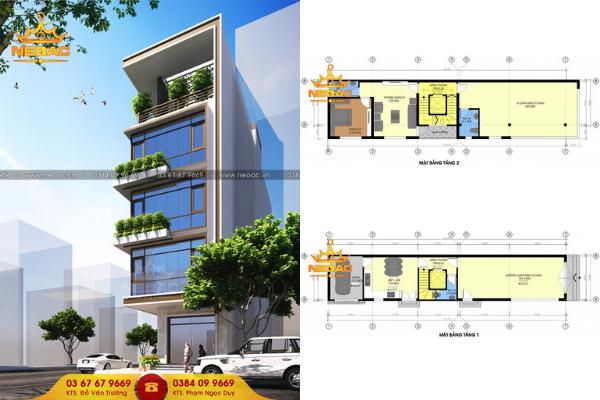 thiết kế nhà phố 5 tầng 95m2