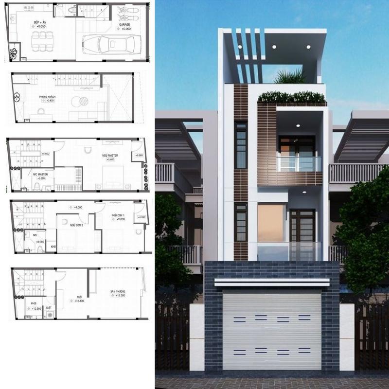 Mẫu thiết kế nhà phố lệch tầng 4x10m