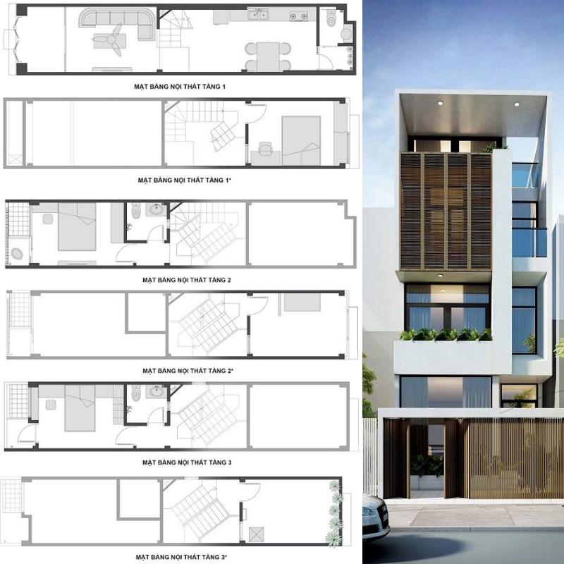 Mẫu thiết kế nhà phố lệch tầng 4x12m