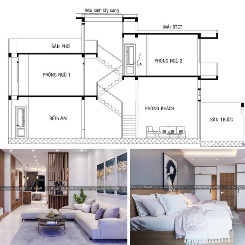 Mẫu thiết kế nhà phố lệch tầng 4x16m