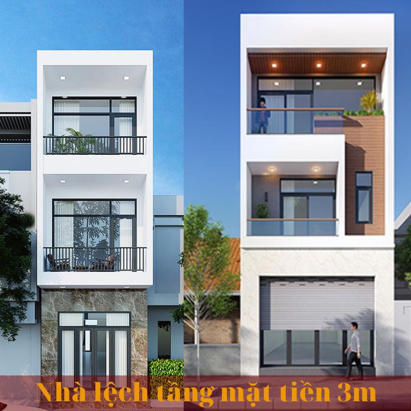 Mẫu thiết kế nhà phố lệch tầng mặt tiền 3m