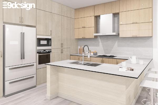 Thiết kế tủ bếp biệt thự chất liệu Laminate