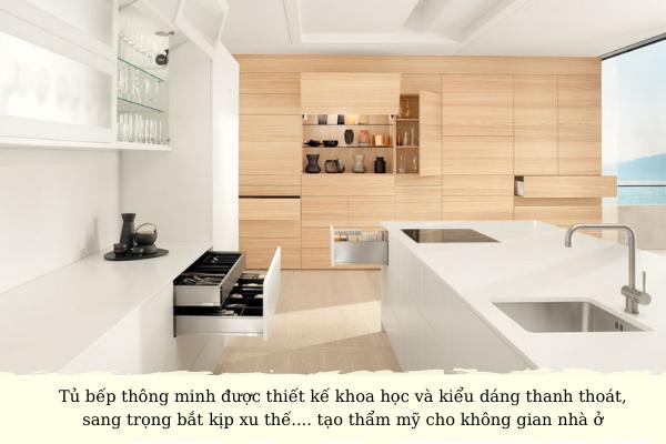 thiết kế tủ bếp thông minh đẹp