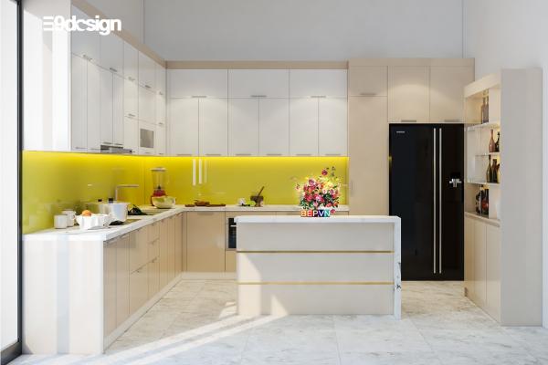 Thiết kế tủ bếp chung cư Acrylic bóng gương 1