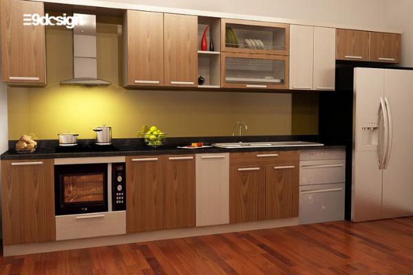 Thiết kế tủ bếp chung cư áp trần 1