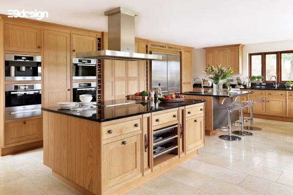 Thiết kế tủ bếp chung cư gỗ tự nhiên 1