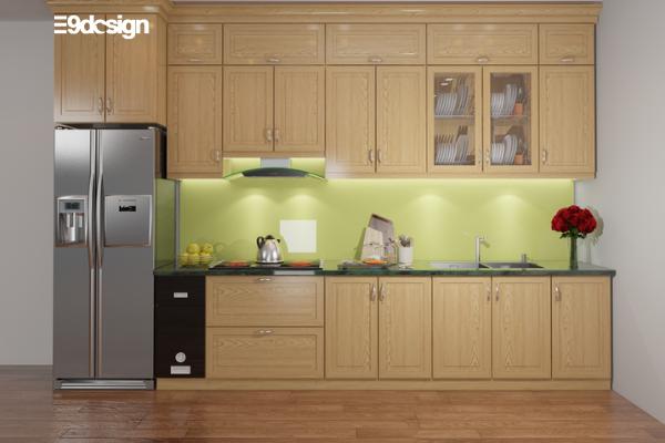 Thiết kế tủ bếp chung cư gỗ tự nhiên 3