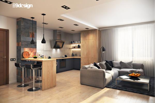 ý tưởng thiết kế tủ bếp chung cư liền với phòng khách