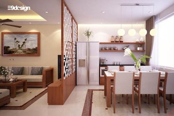 ý tưởng thiết kế tủ bếp chung cư có vách ngăn phòng khách