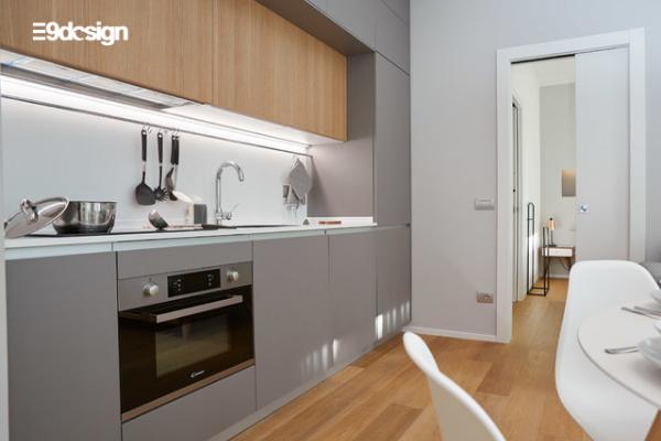 Thiết kế tủ bếp chung cư phong cách tối giản