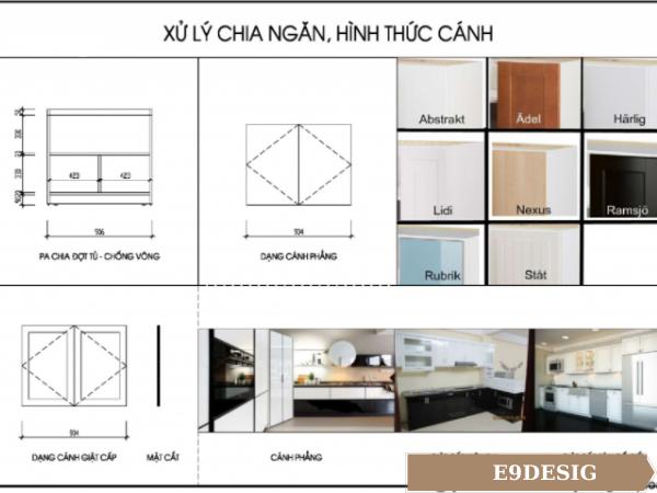 bản vẽ thiết kế tủ bếp nhà phố