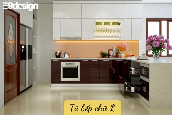 Kiểu dáng tủ bếp thẳng hình chữ L