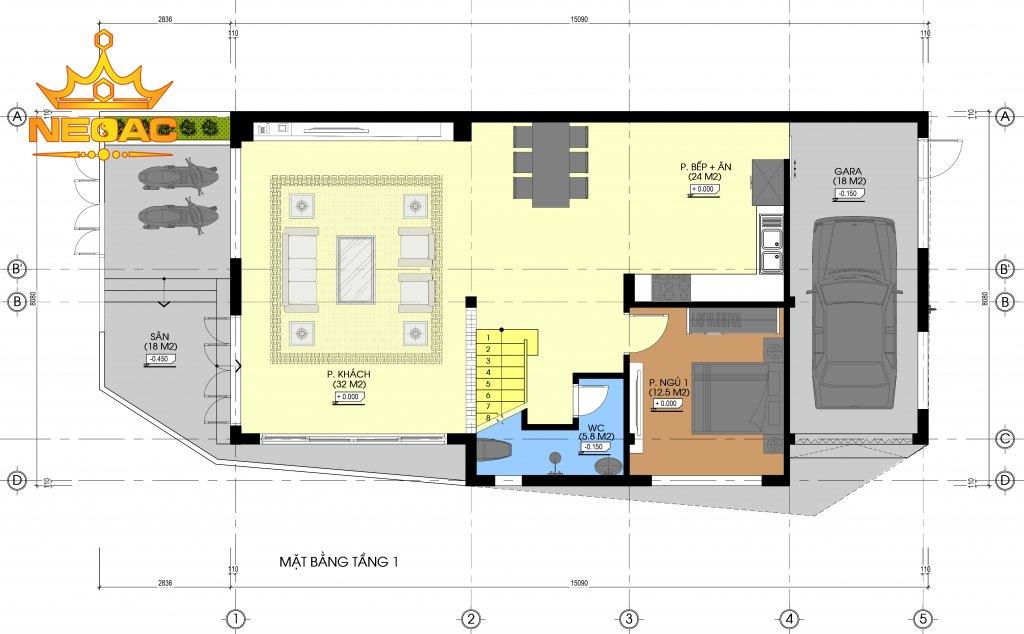 mẫu thiết kế nhà phố 2 tầng 1 tum 4 phòng ngủ