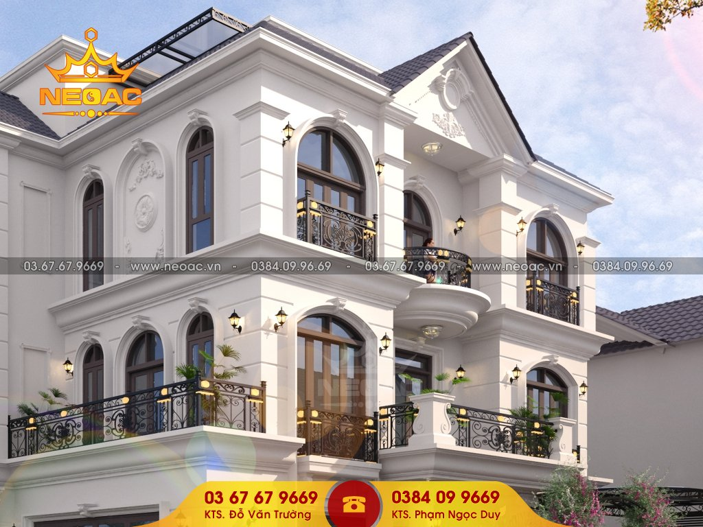 thiết kế biệt thự tân cổ điển 3 tầng mái Thái