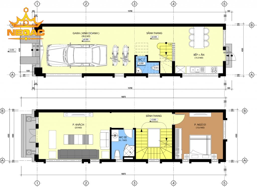 thiết kế nhà phố 5 tầng 68m2