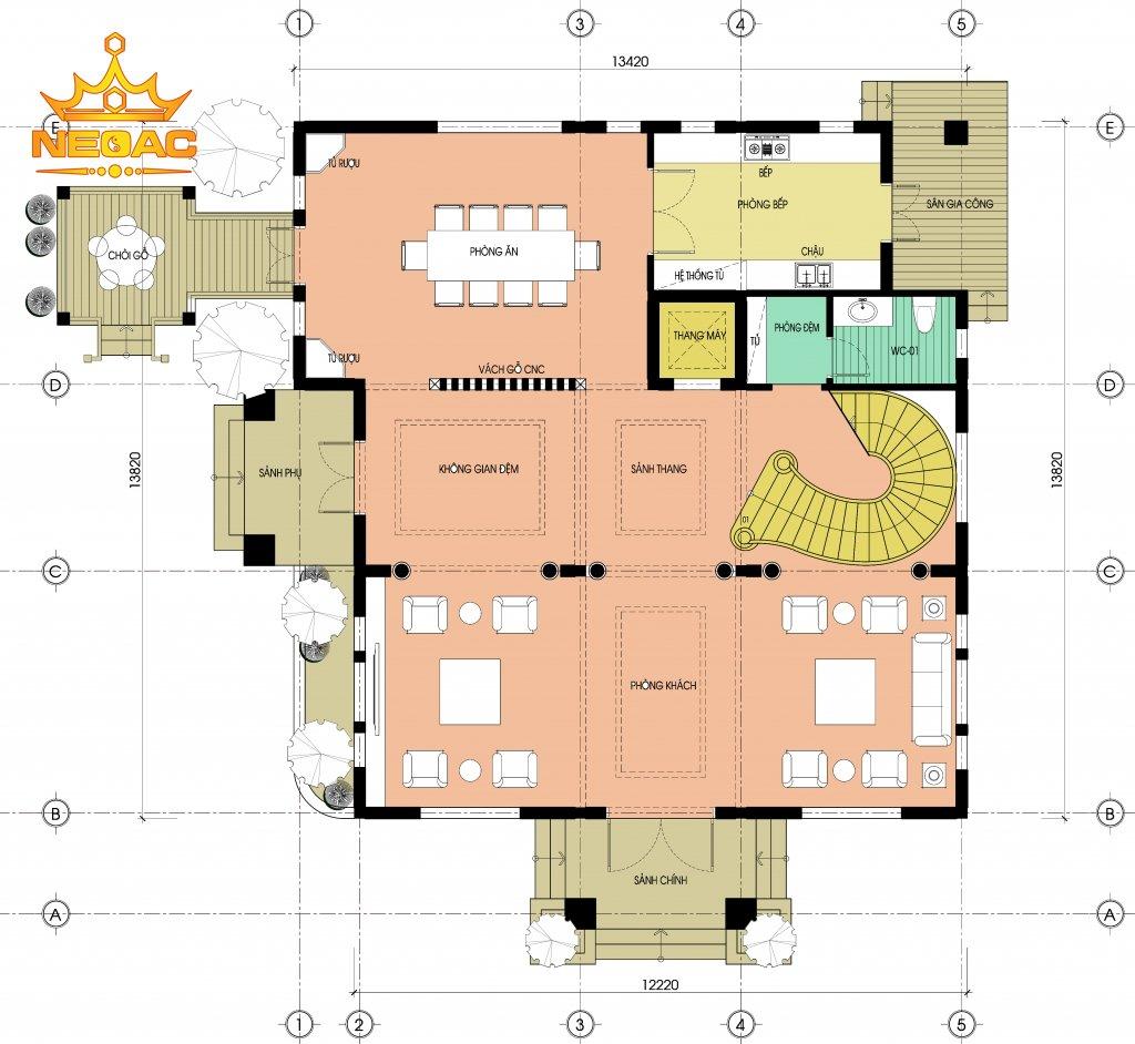 mặt bằng công năng thiết kế biệt thự tân cổ điển 3 tầng mái Thái