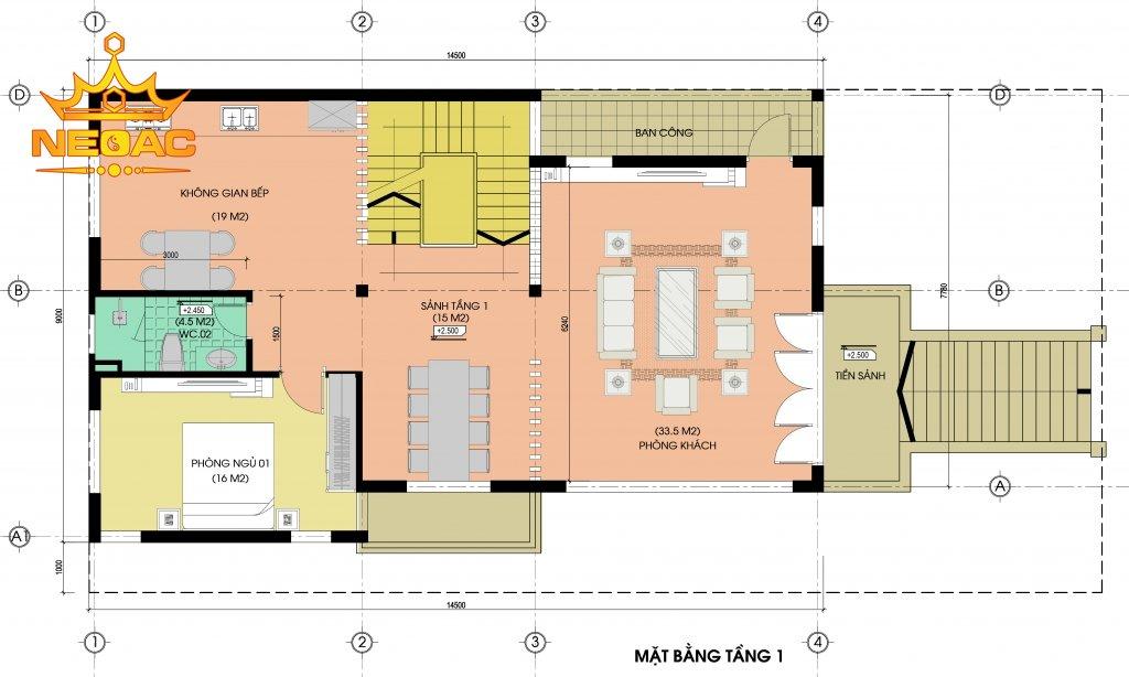 bản vẽ thiết kế biệt thự 4 tầng hiện đại 120m2