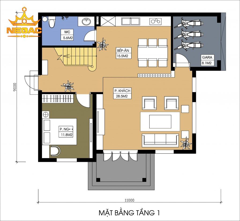thiết kế biệt thự 4 tầng