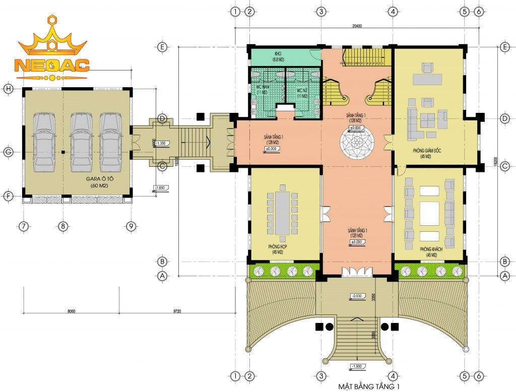 Bản vẽ thiết kế biệt thự 4 tầng 430m2