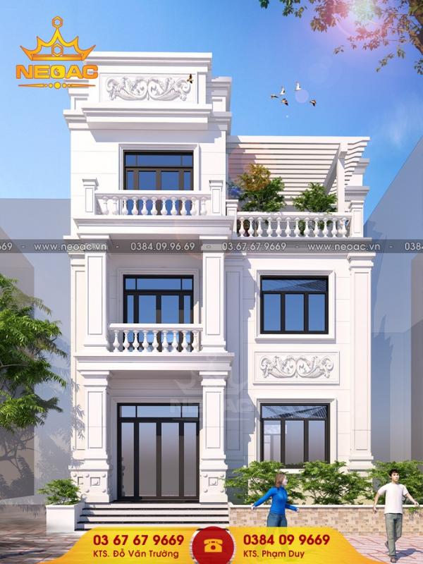 nhà phố tân cổ điển 2 tầng 1 tum