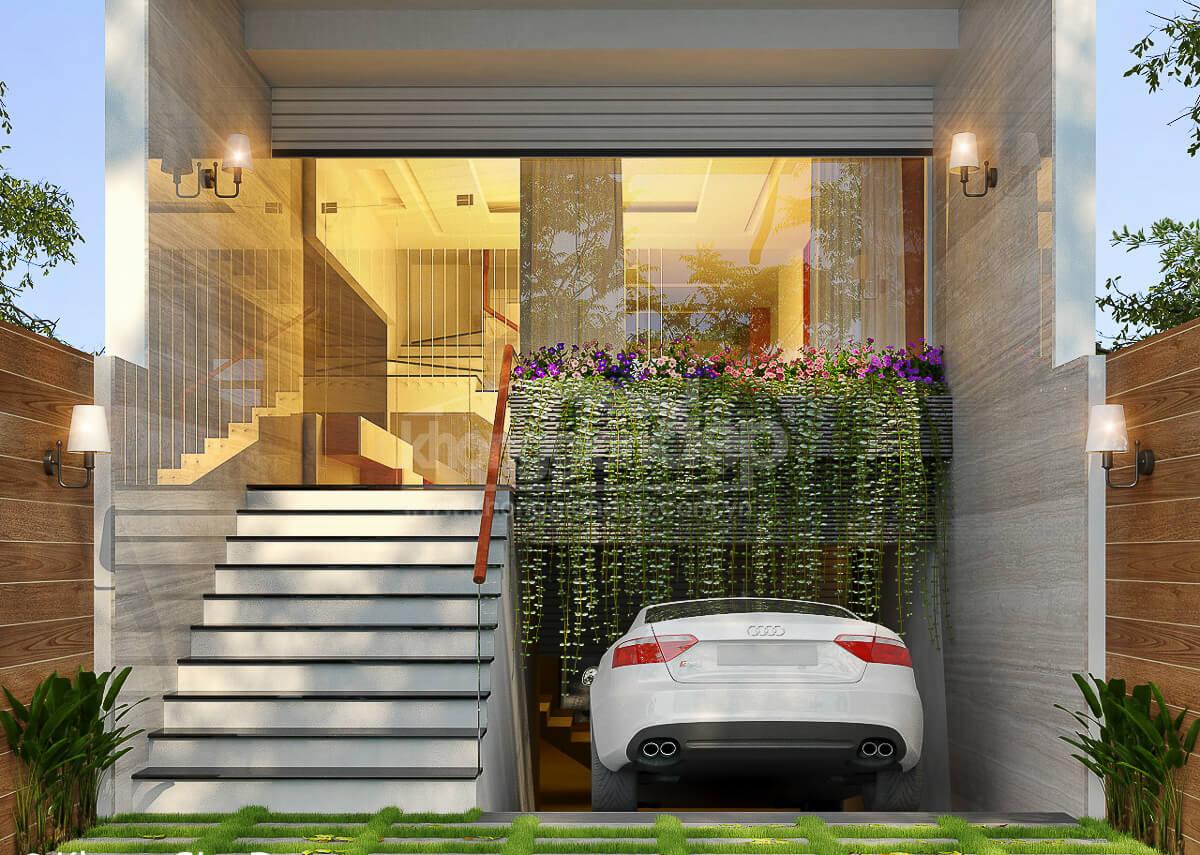 thiết kế nhà phố có tầng hầm để xe