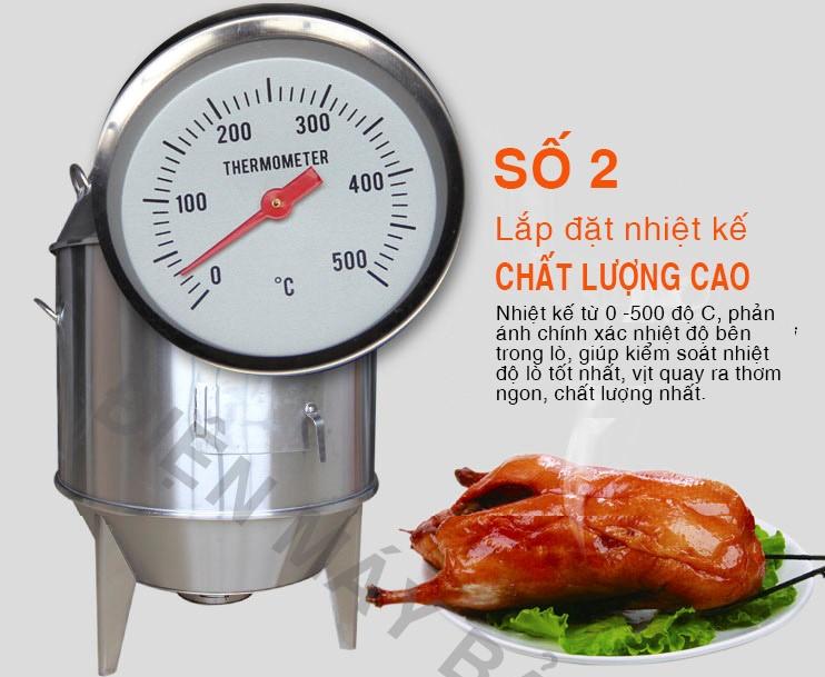 nhiệt kế của lò quay vịt bằng than inox