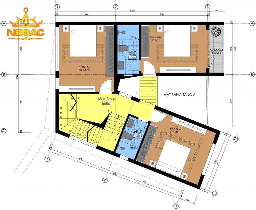 mặt bằng công năng thiết kế nhà phố 2 tầng có sân vườn