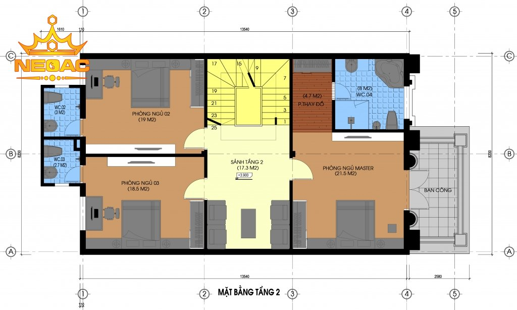 Thiết kế nhà phố 8x15m