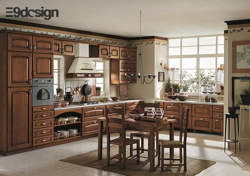 thiết kế tủ bếp biệt thự phong cách cổ điển