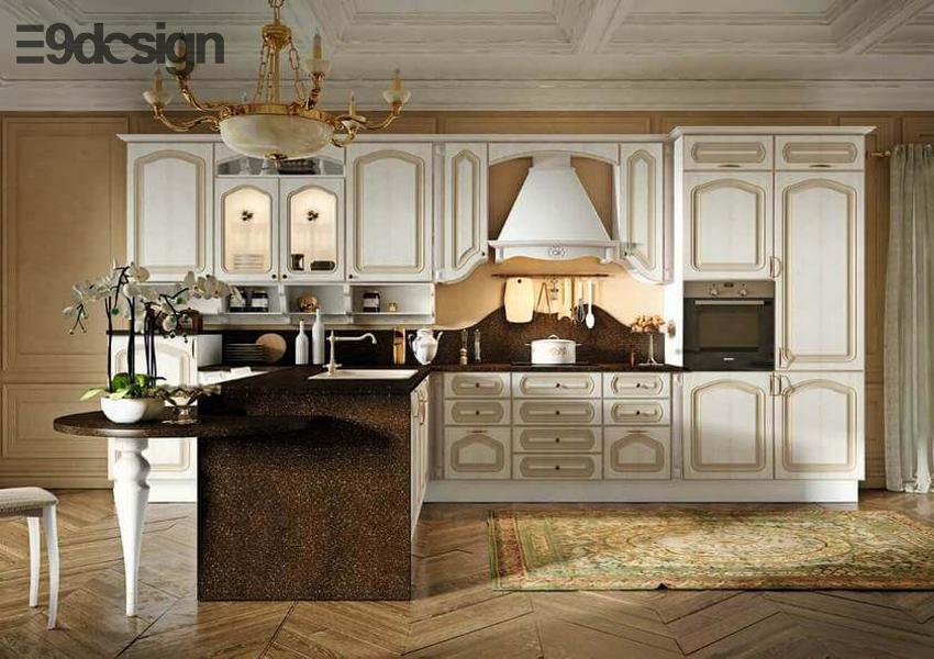 tủ bếp biệt thự song lập phong cách cổ điển