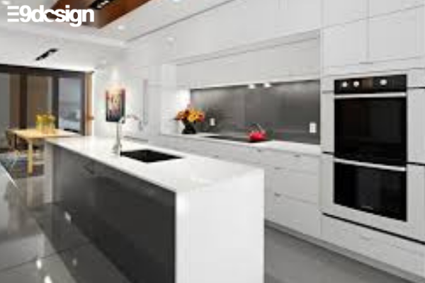 2.6. Thiết kế tủ bếp biệt thự phòng bếp từ gỗ MFC 3