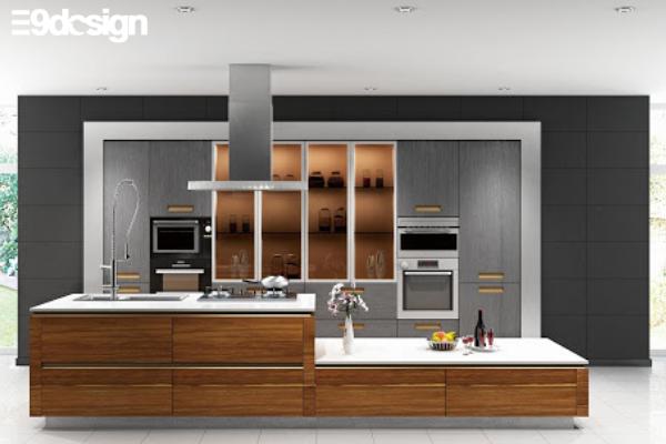 2.6. Thiết kế tủ bếp biệt thự phòng bếp từ gỗ MFC 9