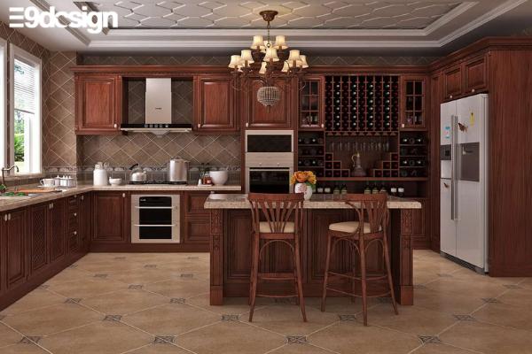 2.5. Thiết kế tủ bếp bếp biệt thự từ gỗ óc chó