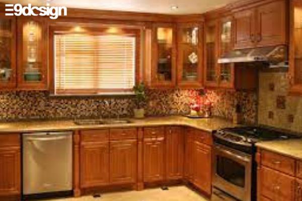 2.7. Thiết kế tủ bếp gỗ sồi Mỹ đẹp cho căn bếp biệt thự