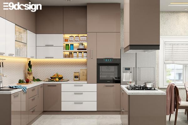 2.2. Thiết kế tủ bếp biệt thự chất liệu Acrylic